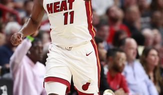 Miami Heat guard Dion Waiters celebrates after scoring during the first half of an NBA basketball game against the Atlanta Hawks, Monday, March 4, 2019, in Miami. (AP Photo/Wilfredo Lee)