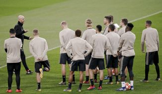 Ajax players take part in a training session in Madrid, Monday March 4, 2019. Real Madrid will play against Ajax in a Champions League soccer match on Tuesday. (AP Photo/Bernat Armangue)