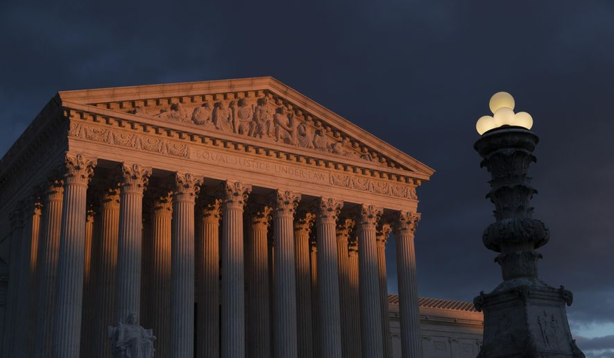 In this Jan. 24, 2019, photo, the Supreme Court is seen at sunset in Washington on Jan. 24, 2019. (Associated Press) **FILE**