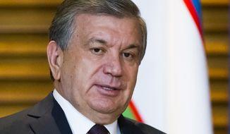 Uzbek President Shavkat Mirziyoyev is seen in this June 2018 photo. (Associated Press)  **FILE**
