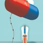 Illustration on inflating drug prices by Linas Garsys/The Washington Times