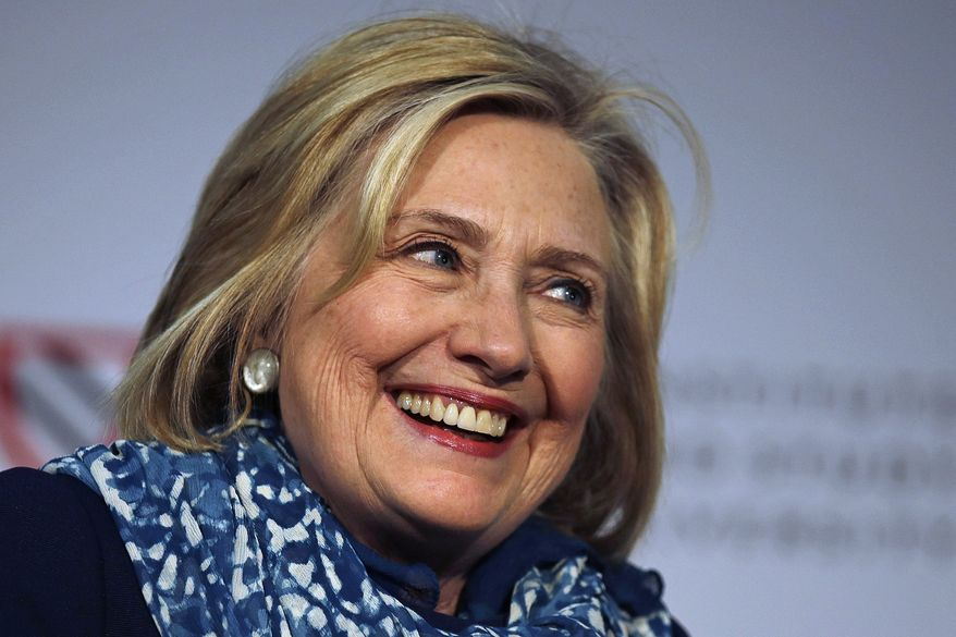 Hillary Clinton smiles as she is introduced at Harvard University in Cambridge, Massachusetts, May 25, 2018. (AP Photo/Charles Krupa) **FILE**