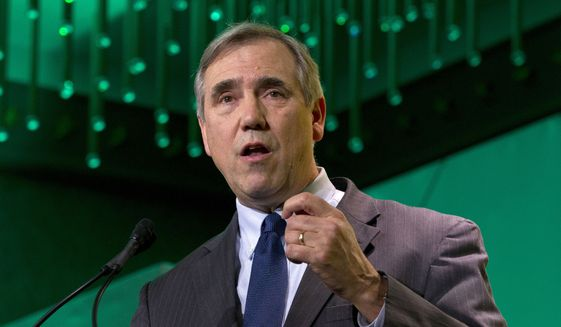 In this Jan. 24, 2019, file photo, Sen. Jeff Merkley, D-Ore., speaks during the U.S. Conference of Mayors meeting in Washington. (AP Photo/Jose Luis Magana, File)