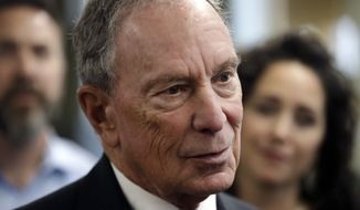 In this Jan. 29, 2019, photo, Michael Bloomberg speaks to workers during a tour of the WH Bagshaw Company, a pin and precision component manufacturer, in Nashua, N.H. Bloomberg is not running for president. The 77-year-old former New York City mayor, one of the richest men of the world, announced his decision not to join the crowded Democratic field in a Bloomberg News editorial on Tuesday, March 5, 2019. (AP Photo/Elise Amendola) **FILE**