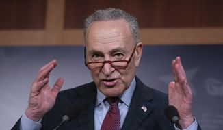 Senate Minority Leader Chuck Schumer, D-N.Y., objects to the nomination of Chad Readler to be U.S. Circuit Judge for the Sixth Circuit, during a news conference at the Capitol in Washington, Tuesday, March 5, 2019. (AP Photo/J. Scott Applewhite) ** FILE **
