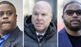 This combo of images shows, from left, amateur basketball league director Merl Code, Former Adidas executive James Gatto, and business manager Christian Dawkins. The three men were sentenced Tuesday, March 5, 2019, in the widespread college basketball recruiting scandal that has tainted two dozen schools. Gatto got nine months in prison. Dawkins and Code got six months each.  (AP Photo/Bebeto Mathews, left, Seth Wenig, center and right)