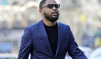 Business manager Christian Dawkins arrives to court in New York, Tuesday, March 5, 2019. Federal prosecutors have recommended multi-year prison sentences for Dawkins and two other men convicted of fraud for channeling secret payments to the families of top-tier basketball recruits to influence where the players went to school. (AP Photo/Seth Wenig)