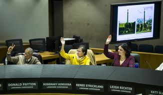 In this Monday, March 4, 2019 photo, members of the Dallas Landmark Commission vote during a meeting at Dallas City Hall, to remove the Confederate War Memorial in front of the downtown convention center. The commission voted 10-5 to approve the removal of the memorial. (Ashley Landis/The Dallas Morning News via AP)