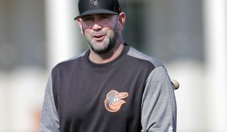 FILE - In this Feb. 15, 2019, file photo, Baltimore Orioles manager Brandon Hyde walks on the field at their spring training baseball facility in Sarasota, Fla. The rookie manager is putting his stamp on the Orioles this spring training, one fundamental at a time. (AP Photo/Gerald Herbert, File)