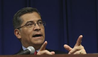 California Attorney General Xavier Becerra discusses the decision that his office will not file charges against the two Sacramento Police officers in last years fatal shooting of Stephon Clark, during a news conference, Tuesday, March 5, 2019, in Sacramento, Calif. (AP Photo/Rich Pedroncelli) ** FILE **