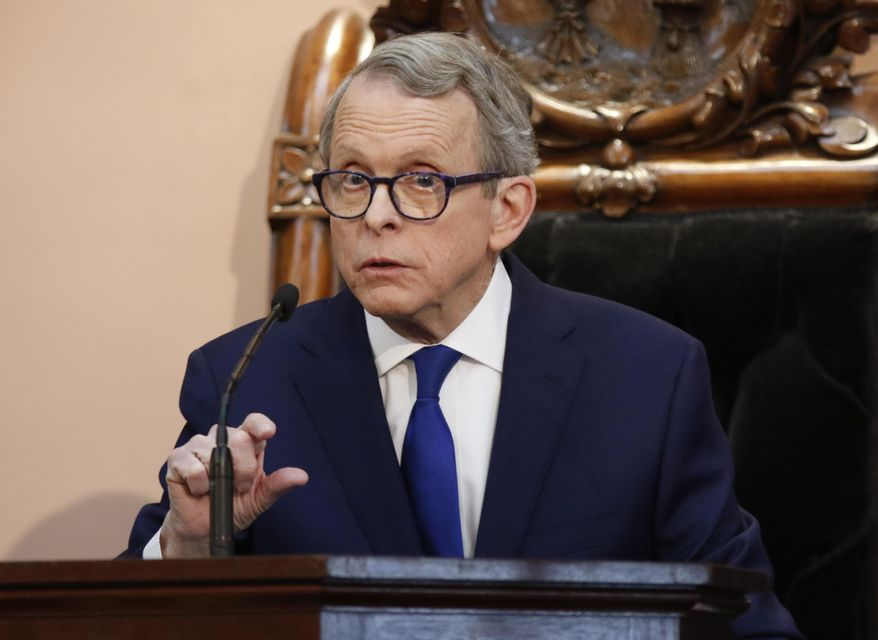 Ohio Gov. Mike DeWine speaks during the Ohio State of the State address at the Ohio Statehouse in Columbus, Ohio, Tuesday, March 5, 2019. (AP Photo/Paul Vernon)