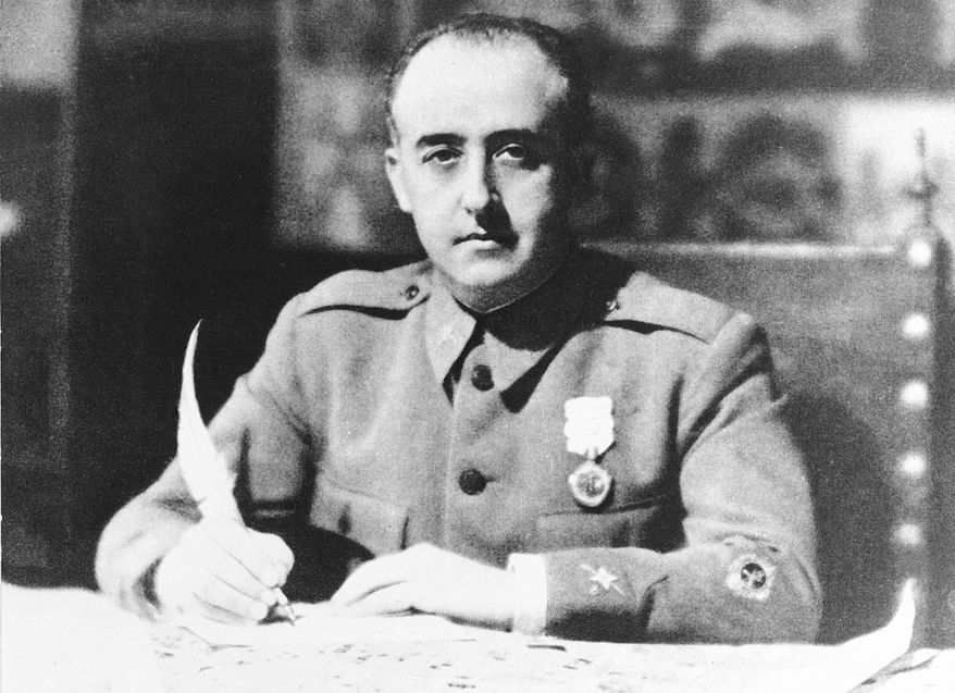 In this black and white file photo dated 1936, General Francisco Franco, Generalissimo of the anti-republican military forces and appointed head of Nationalist Spain, is seen in 1936 during the time of the Spanish Civil War.  Spain's Justice Ministry on Wednesday March 5, 2019, invited people to send by email any details they have about officially unrecorded victims of the country's 1936-39 Civil War and the four decades of dictatorship that followed under Gen. Francisco Franco, aiming to create a reliable census and helping to identify the estimated 114,000 victims. (AP Photo, FILE)