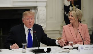 President Donald Trump thank his daughter, American Workforce Policy Advisory Board co-chair Ivanka Trump, during the advisory board's first meeting in the State Dining Room of the White House in Washington, Wednesday, March 6, 2019. (AP Photo/Manuel Balce Ceneta) ** FILE **