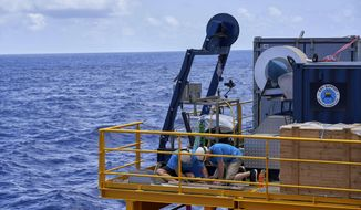 Technicians conduct maintenance on the Remote Operated Vehicle (ROV) as the British-based Nekton Mission sails to a dive site in the Seychelles on Wednesday March 6, 2019. The science expedition will explore the Indian Ocean, during which researchers hope to document changes taking place beneath the waves that could affect billions of people in the surrounding region over the coming decades. (AP Photo/David Keyton)