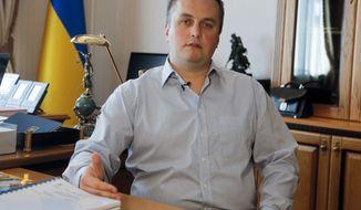 FILE - In this file photo dated Aug. 16, 2016, Ukraine's Anti-Corruption Prosecutor Nazar Kholodnytsky speaks to The Associated Press in Kiev, Ukraine, Tuesday, Aug. 16, 2016. In a speech Tuesday March 5, 2019, U.S. ambassador in Ukraine, Marie Yovanovitch has called on Kiev to replace senior anti-corruption official Kholodnytsky. (AP Photo/Efrem Lukatsky, FILE)