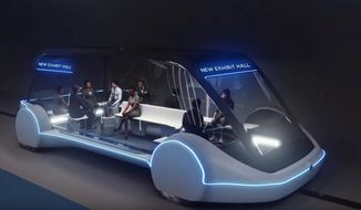 This undated conceptual drawing provided by The Boring Company shows a high-occupancy Autonomous Electric Vehicle (AEV) that would run in a tunnel between exhibition halls at the Las Vegas Convention Center proposed for Las Vegas. Entrepreneur Elon Musk's dream of a tunnel transit system may finally become a reality in Las Vegas. Tourism officials in Sin City announced Wednesday, March 6, 2019, they might soon grant him a contract to build and operate a mile-and-a-quarter-long project with autonomous electric vehicles to move people around a mega convention center. (The Boring Company via AP)