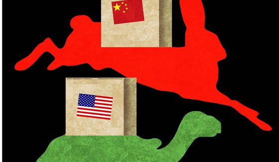Illustration on trade gap realities by Alexander Hunter/The Washington Times
