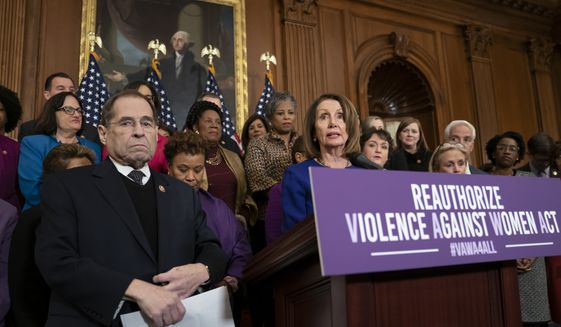 Speaker of the House Nancy Pelosi, D-Calif., joined at left by House Judiciary Committee Chairman Jerrold Nadler, D-N.Y., calls attention to Democrat plans to reauthorize the Violence Against Women Act, which provides funding and grants for a variety of programs that tackle domestic abuse, at the Capitol in Washington, Thursday, March 7, 2019. (AP Photo/J. Scott Applewhite) ** FILE **