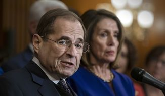House Judiciary Committee Chairman Jerrold Nadler, D-N.Y., joined at right by Speaker of the House Nancy Pelosi, D-Calif., speaks about reauthorizing the Violence Against Women Act which provides funding and grants for a variety of programs that tackle domestic abuse, at the Capitol in Washington, Thursday, March 7, 2019. Nadler, a key chairman in Pelosi's Democratic majority, has sent 81 letters to President Donald Trump's family and associates seeking documents and information to investigate possible obstruction of justice, corruption and abuse of power. (AP Photo/J. Scott Applewhite)