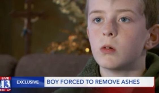 William McLeod, a fourth grader at Valley View Elementary School in Bountiful, Utah, said his teacher forced him to wash the cross marking Ash Wednesday off of his forehead. (FOX 13)