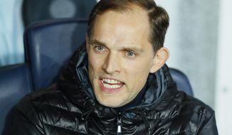 PSG coach Thomas Tuchel speaks before the Champions League round of 16, second leg soccer match between Paris Saint Germain and Manchester United at the Parc des Princes stadium in Paris, France, Wednesday, March. 6, 2019. (AP Photo/Francois Mori)