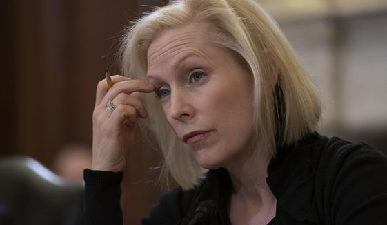 Sen. Kirsten Gillibrand, D-N.Y., the ranking member of the Senate Armed Services Subcommittee on Personnel, listens as the panel holds a hearing about prevention and response to sexual assault in the military, on Capitol Hill in Washington, Wednesday, March 6, 2019. (AP Photo/J. Scott Applewhite) ** FILE **