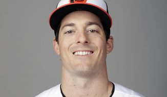 FILE - This is a 2019 file photo showing Mike Yastrzemski of the Baltimore Orioles baseball team. The grandson of a Hall of Fame outfielder with a very notable last name, 28-year-old Mike Yastrzemski remains hopeful of finally making to the big leagues with the Orioles. (AP Photo/Lynne Sladky, File)