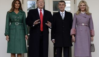 President Donald Trump and first lady Melania Trump welcome Czech Prime Minister Andrej Babis and his wife Monika Babisova to the White House, Thursday, March 7, 2019, in Washington. (AP Photo/Evan Vucci)