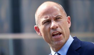 Michael Avenatti, the attorney for porn actress Stormy Daniels talks to the media during a news conference in front of the U.S. Federal Courthouse in Los Angeles. (AP Photo/Richard Vogel, File)
