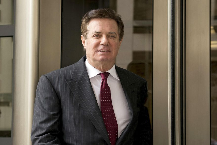 FILE - In this April 4, 2018 file photo, Paul Manafort, President Donald Trump's former campaign chairman, leaves the federal courthouse in Washington. (AP Photo/Andrew Harnik) ** FILE **