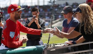 Boston Red Sox second baseman Dustin Pedroia (15) signs autographs for fans before the start a spring training baseball game against the Minnesota Twins, Thursday, March 7, 2019, in Fort Myers, Fla. (AP Photo/John Bazemore)