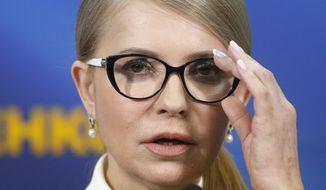Former Ukrainian Prime Minister Yulia Tymoshenko speaks during her press conference in Kiev, Ukraine, Thursday, March. 7, 2019. Tymoshenko is running in the president election scheduled for March 31. (AP Photo/Efrem Lukatsky)