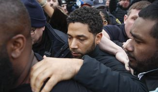 "In this Feb. 21, 2019 file photo, ""Empire"" actor Jussie Smollett leaves Cook County jail following his release in Chicago. A Cook County grand jury on Friday, March 8, 2019 has indicted Smollett on 16 felony charges after authorities say he falsely told police that he was attacked by two men in Chicago. (AP Photo/Kamil Krzaczynski, File)"