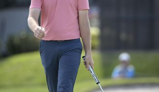 Tommy Fleetwood, of England, reacts after missing a putt on the 16th green during the second round of the Arnold Palmer Invitational golf tournament at Bay Hill, Friday, March 8, 2019, in Orlando, Fla. (AP Photo/Phelan M. Ebenhack)