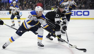 St. Louis Blues left wing Jaden Schwartz, left, and Los Angeles Kings left wing Ilya Kovalchuk reach for the puck during the second period of an NHL hockey game Thursday, March 7, 2019, in Los Angeles. (AP Photo/Mark J. Terrill)