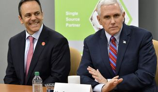 FILE - In this March 11, 2017 file photo, Vice President Mike Pence, right, and Kentucky Gov. Matt Bevin address a group of business owners to gather support for the repeal and replacement of the Affordable Care Act in Louisville, Ky.  Pence will raise money for Bevin in Kentucky, one of three states that will elect governor's in 2019 .(AP Photo/Timothy D. Easley, File)