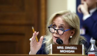 In this April 26, 2018, file photo, Rep. Debbie Dingell, D-Mich., speaks during a hearing on Capitol Hill in Washington. (AP Photo/Alex Brandon, File)