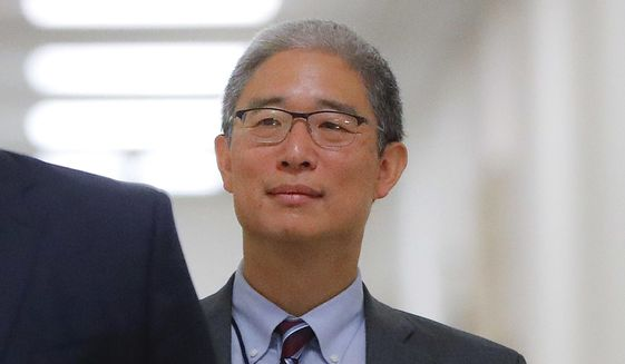 In this Aug. 28, 2018, file photo, Justice Department official Bruce Ohr arrives for a closed hearing of the House Judiciary and House Oversight committees on Capitol Hill in Washington. (AP Photo/Pablo Martinez Monsivais) ** FILE **