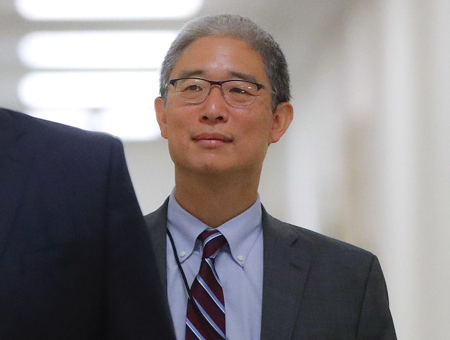 In this Aug. 28, 2018, photo, Justice Department official Bruce Ohr arrives for a closed hearing of the House Judiciary and House Oversight committees on Capitol Hill in Washington. (AP Photo/Pablo Martinez Monsivais) **FILE**