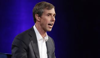 "Former Democratic Texas congressman Beto O'Rourke speaks during an interview with Oprah Winfrey live on a Times Square stage at ""SuperSoul Conversations."" (AP Photo/Kathy Willens, File)"