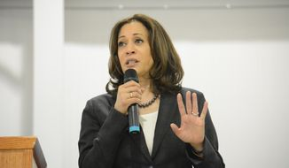 Sen. Kamala Harris, D-Calif., speaks during an event in St. George, S.C., on Saturday, March 9, 2019. Harris is spending two days in South Carolina, home of the first southern presidential primary in 2020, spending time with voters in rural and coastal areas. (AP Photo/Meg Kinnard)