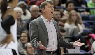 North Carolina State head coach Wes Moore reacts to being called for a technical foul during the first half of an NCAA college basketball game against Louisville in the Atlantic Coast Conference women's tournament in Greensboro, N.C., Saturday, March 9, 2019. (AP Photo/Chuck Burton)