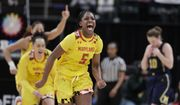 Maryland guard Kaila Charles (5) celebrates after Maryland defeated Michigan in an NCAA college basketball semifinal game at the Big Ten Conference tournament in Indianapolis, Saturday, March 9, 2019. Maryland defeated Michigan 73-72. (AP Photo/Michael Conroy) ** FILE **