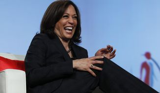 """FILE - In this Friday, March 1, 2019 file photo Sen. Kamala Harris, D-Calif., speaks at the Black Enterprise Women of Power Summit in Las Vegas. A growing list of Democratic presidential contenders want the U.S. government to legalize marijuana, reflecting a nationwide shift. Harris says it's the """"smart thing to do.""""  (AP Photo/John Locher, File)"""