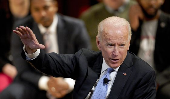 In this Feb. 28, 2019, photo, former Vice President Joe Biden speaks at the Chuck Hagel Forum in Global Leadership, on the campus of the University of Nebraska-Omaha, in Omaha, Neb. (AP Photo/Nati Harnik) ** FILE **