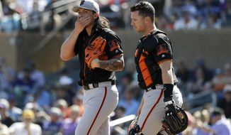 San Francisco Giants starting pitcher Dereck Rodriguez, left, talks with catcher Buster Posey, right, after loading the bases during the first inning of a spring baseball game against the Colorado Rockies in Scottsdale, Ariz., Sunday, March 3, 2019. (AP Photo/Chris Carlson)