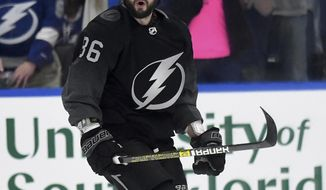 Tampa Bay Lightning right wing Nikita Kucherov (86) celebrates his first period goal during an NHL hockey game against the Detroit Red Wings Saturday, March 9, 2019, in Tampa, Fla. (AP Photo/Jason Behnken)