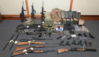 Firearms and ammunition were used in the motion for detention pending trial in the case against Christopher Paul Hasson in U.S. District Court in Maryland. The Coast Guard officer, accused of being a white supremacist who compiled a hit list of prominent Democrats, was indicted last month on firearms and drug charges. (Associated Press/File)