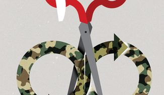 Illustration on ending the war in Afghanistan by Linas Garsys/The Washington Times