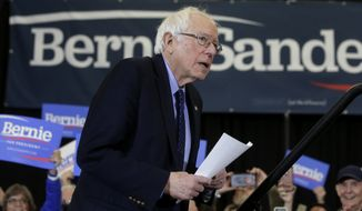 2020 Democratic presidential candidate Sen. Bernie Sanders approaches a podium during a campaign stop, Sunday, March 10, 2019, in Concord, N.H. (AP Photo/Steven Senne)